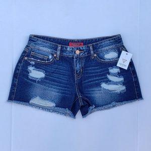 New GUESS Kent Destroyed Denim Shorts sz 27